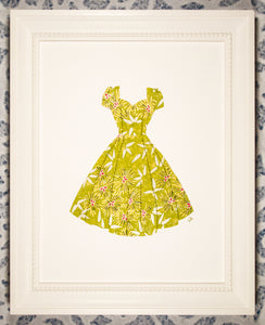 Pinup dress in lime green, gold, and silver