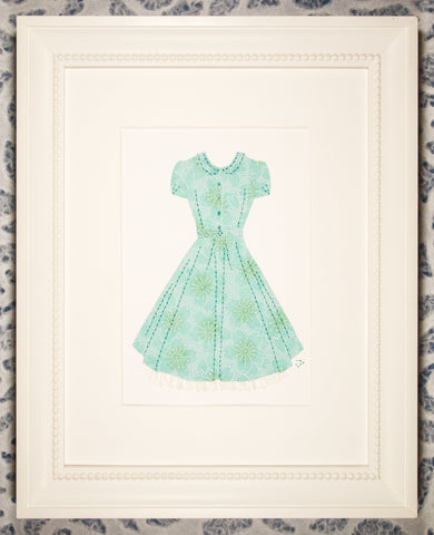 Pinup #029: Pinup dress in pale green and white with crinoline