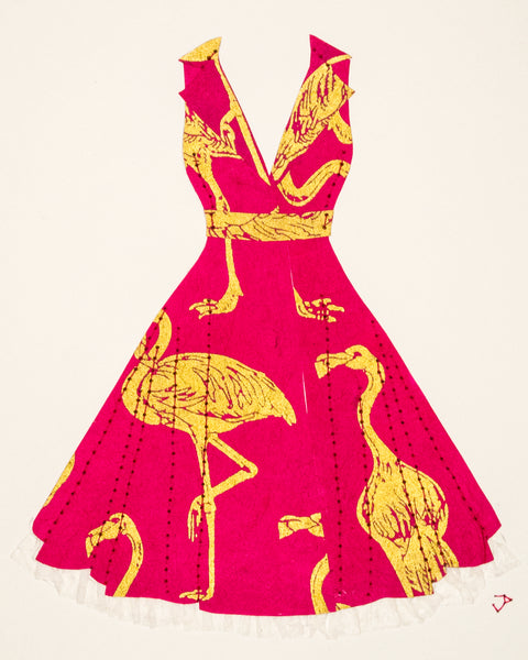 Pinup dress in pink and gold flamingos with crinoline