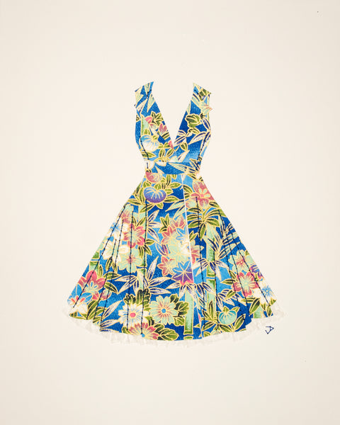 Pinup dress in blue bamboo and flowers with crinoline