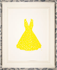 Pinup dress in gold dots on yellow with crinoline