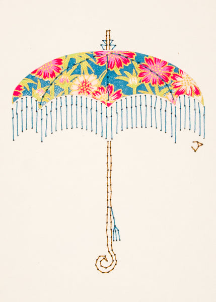 Parasol in Pink Flowers on Turquoise