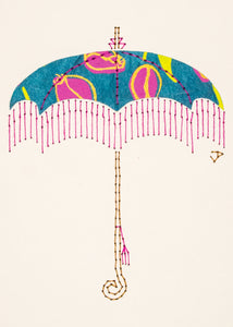 Parasol in Mauve Flowers on Teal