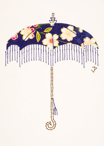 Parasol in Pink Flowers on Indigo Blue