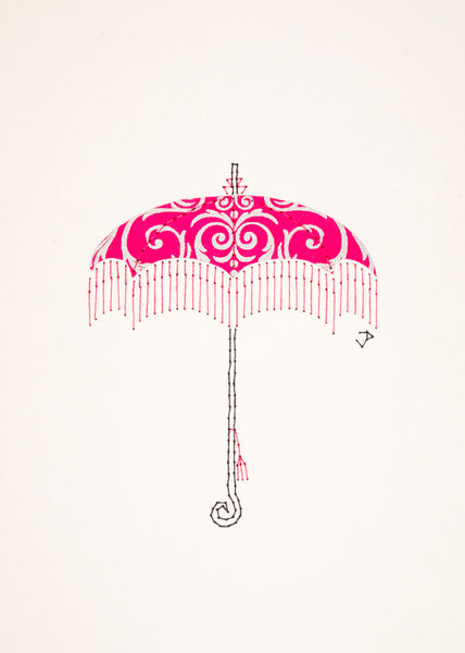 Parasol in Silver Filigree on Bright Pink