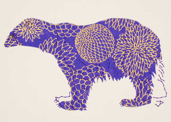 Polar Bear in Gold & Periwinkle