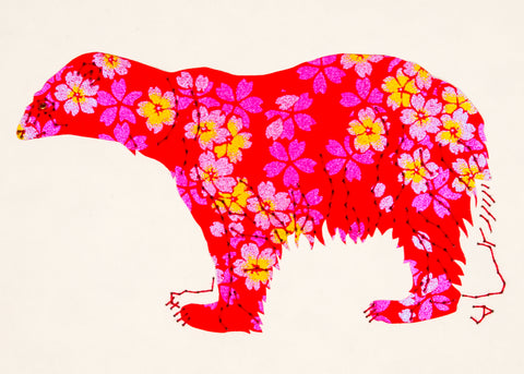 Polar Bear in Red with Iridescent Flowers
