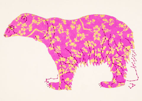 Polar Bear in Red with Gold and Mauve