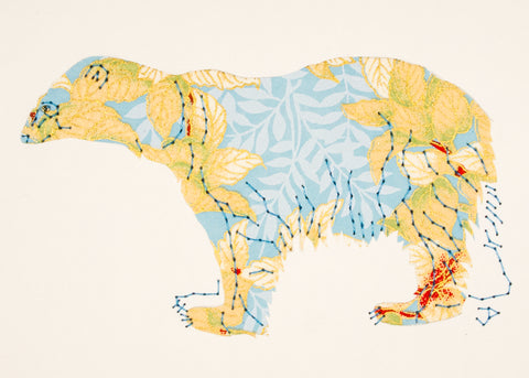 Polar Bear in Cream Leaves on Blue