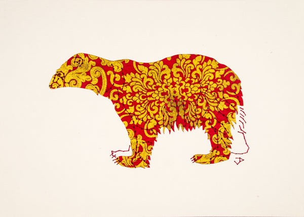 Polar Bear in Gold and Red