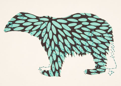 Polar Bear in Turquoise & Black