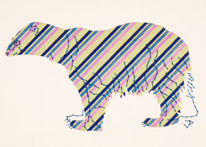 Polar Bear in Blue, Lilac, and Green Stripes