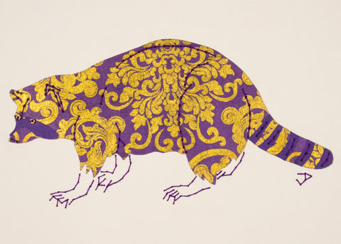 Raccoon in Gold on Purple