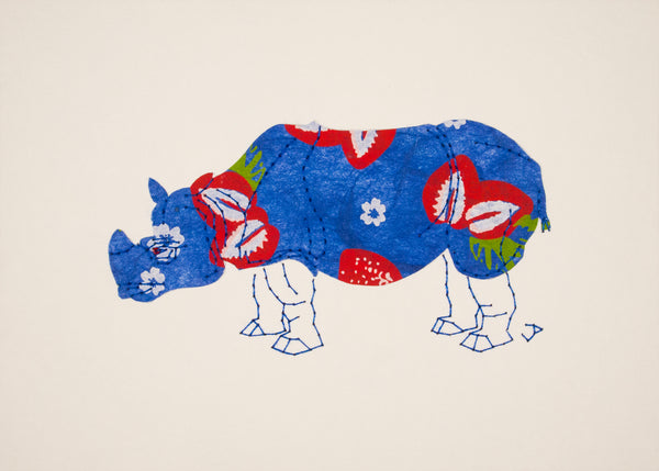 Rhinoceros in Strawberries & Blue