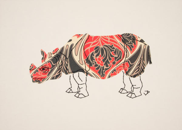 Rhinoceros in Art Nouveau Red & Black