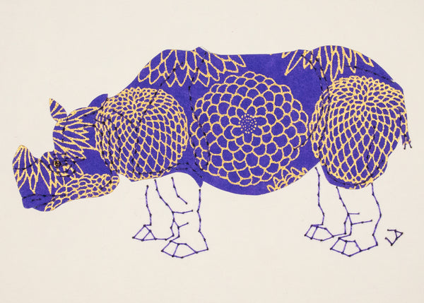 Rhinoceros in Gold & Periwinkle