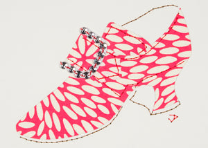 Hand-stitched 1760s shoe patterned in pink and white paper and accented with a rhinestone buckle