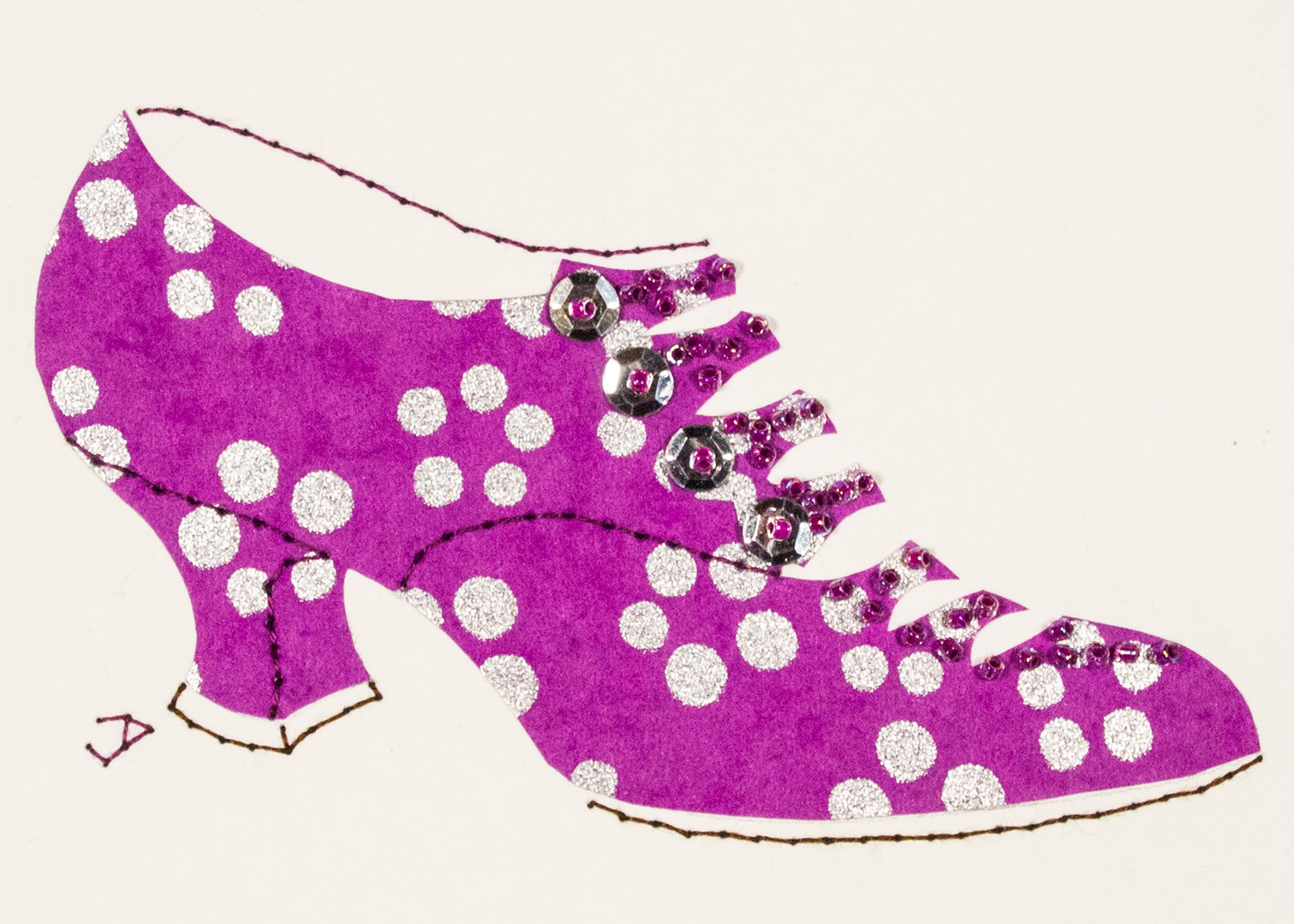 1916 Shoe in Purple with Silver Dots