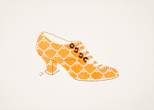 1916 Shoe in Orange and White