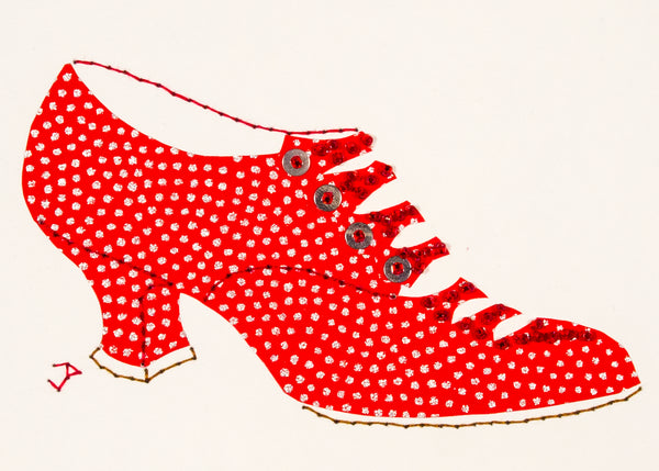 1916 Shoe in Red with Silver Dots