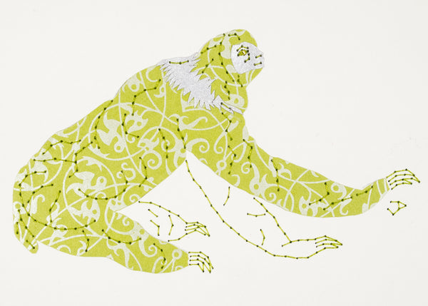 Sloth in Silver Filigree on Lime Green