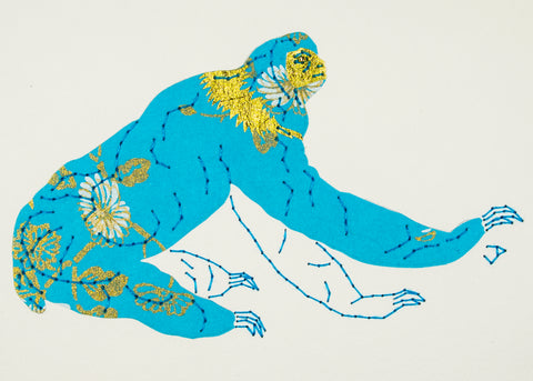Sloth in Turquoise & Gold