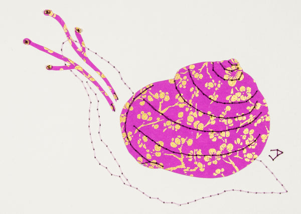 Garden Snail in Gold & Mauve