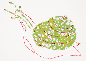 Garden Snail in Green & Coral