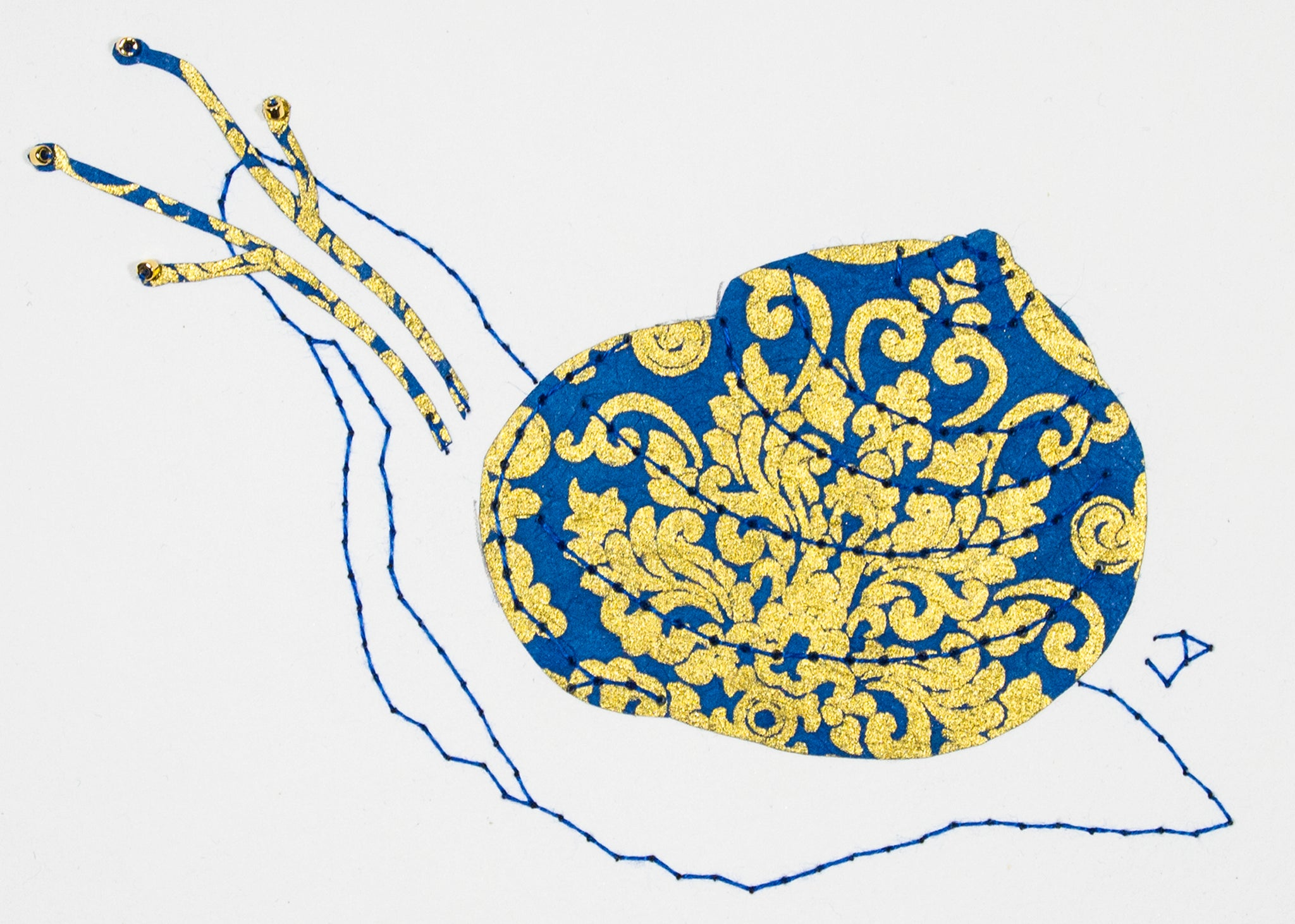 Garden Snail in Gold & Blue