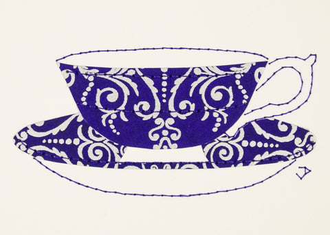 Teacup in Silver Filigree on Royal Blue