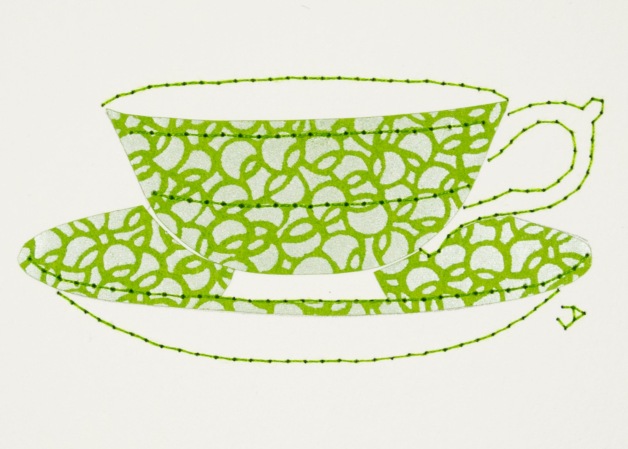 Teacup in Silver and Lime Green Circles