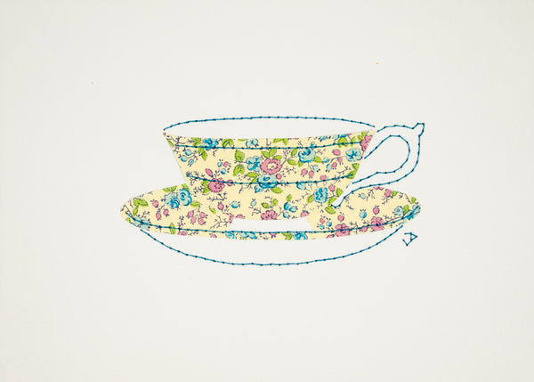Teacup in Tiny Blue & Pink Flowers