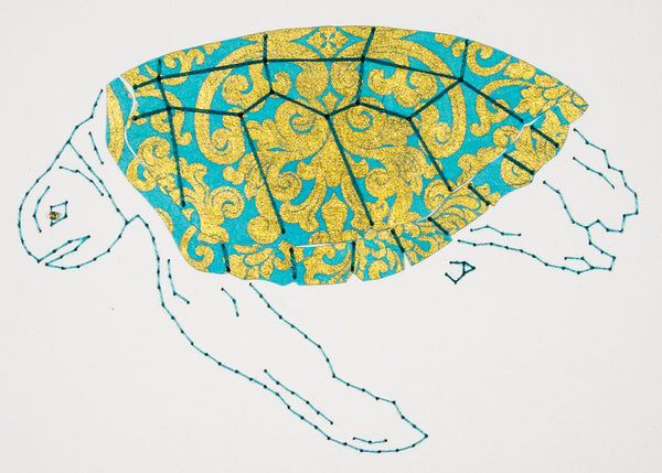 Green Turtle in Gold & Turquoise