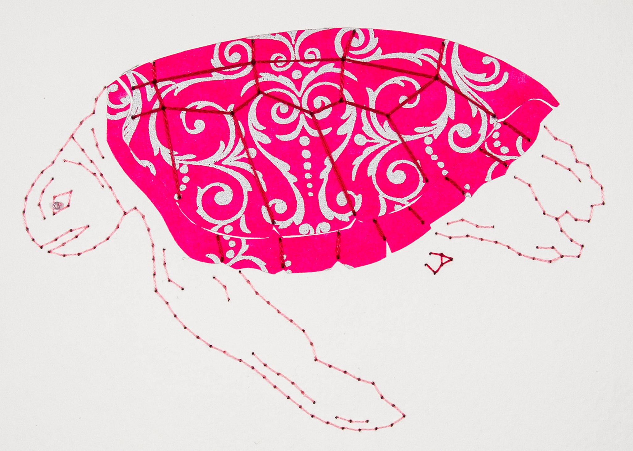 Green Turtle in Silver Filigree on Pink