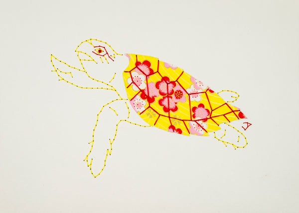 Hawksbill Turtle in Yellow & Red