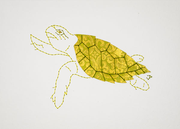 Hawksbill Turtle in Gold & Lime Green
