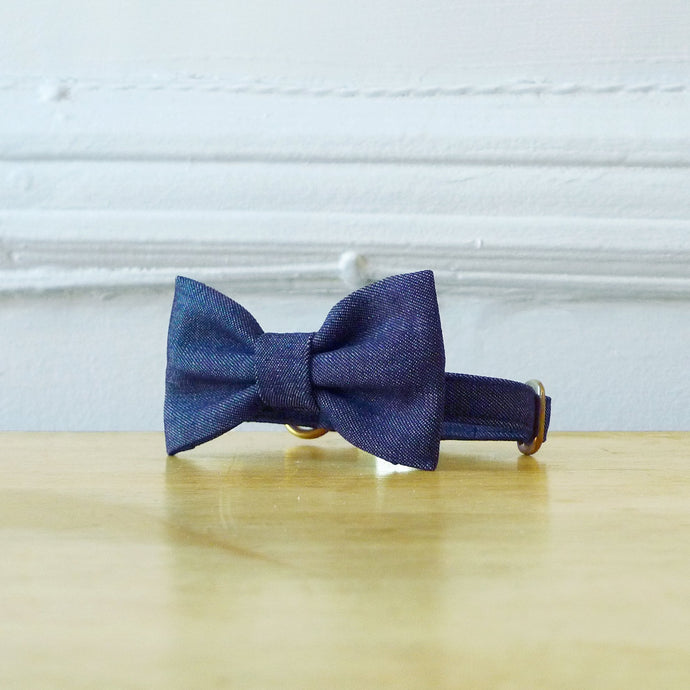 Blue Denim Dog Bowtie Collar