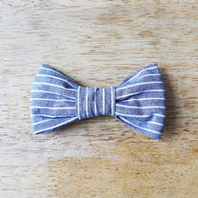 Load image into Gallery viewer, Blue-Gray and White Stripe Dog Bowtie
