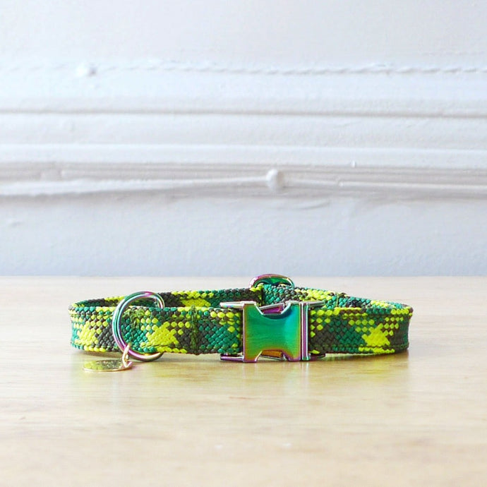 Green rope collar for dog or cat