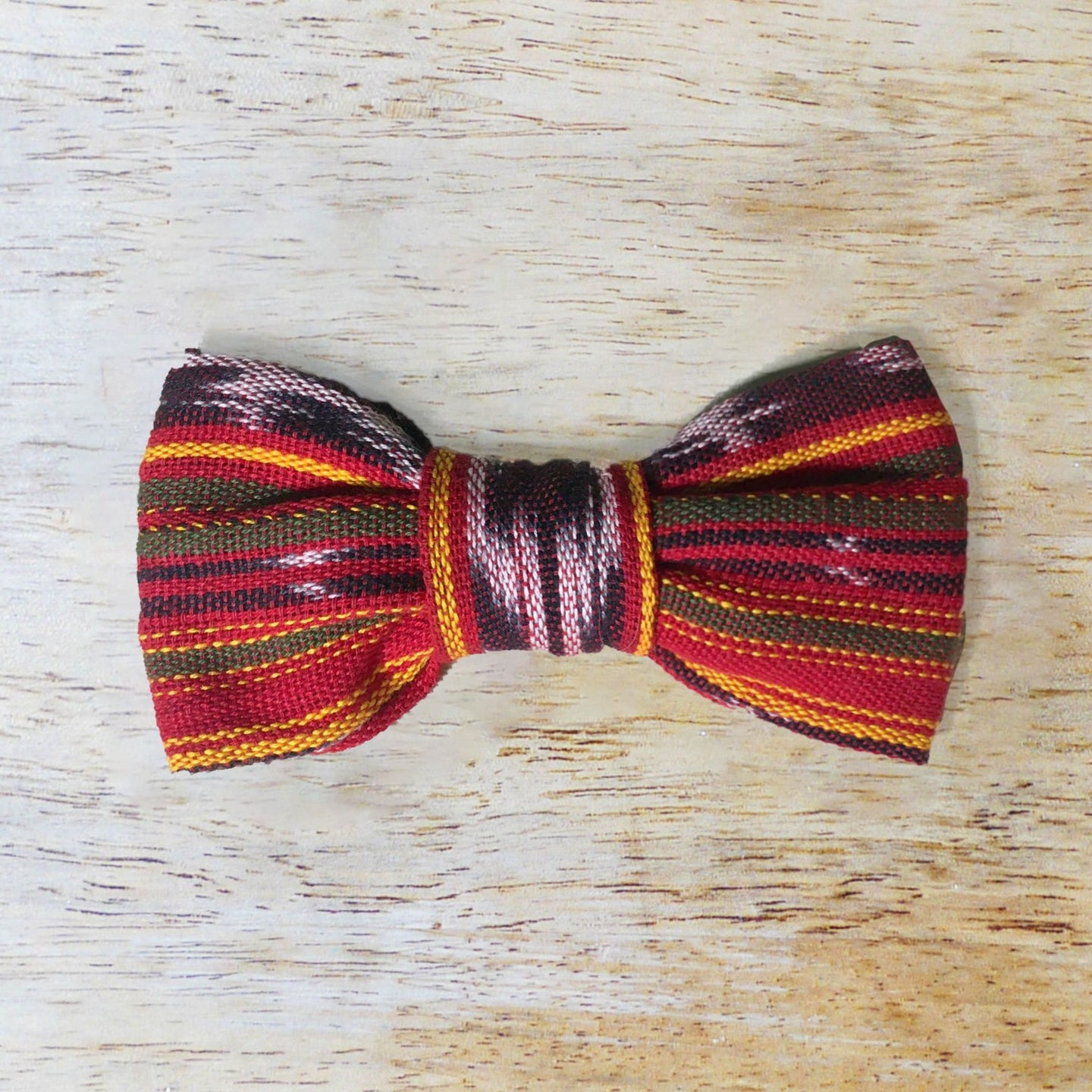 Red Ikat Dog Bowtie