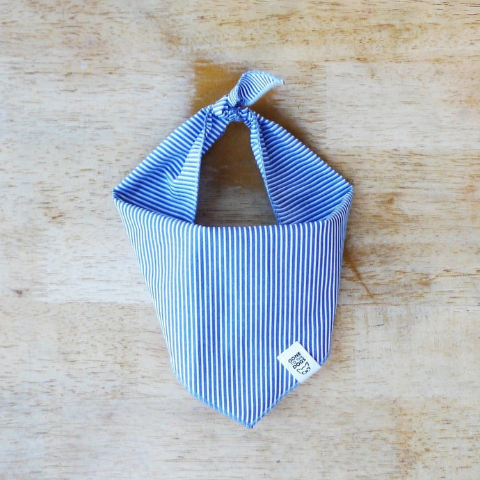 Blue Railroad Stripe Dog bandana or neckerchief