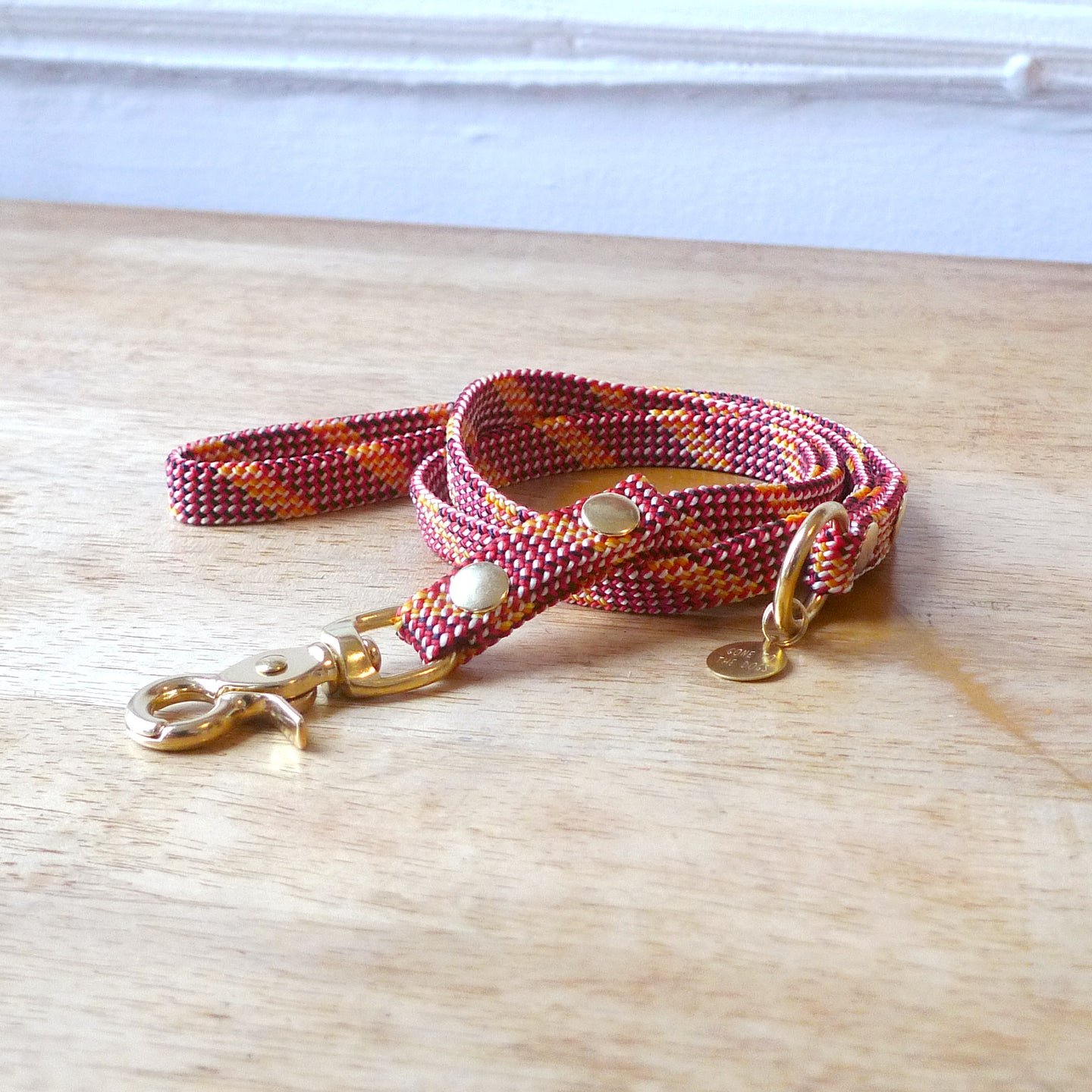 Upcycled Red Flat Rope Small Dog or Puppy leash