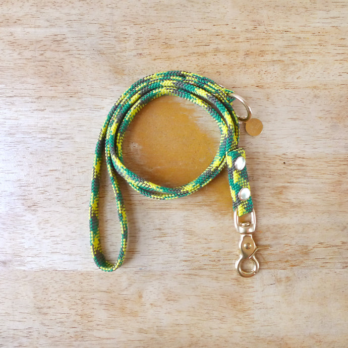 Upcycled Green Flat Rope Small Dog or Puppy leash