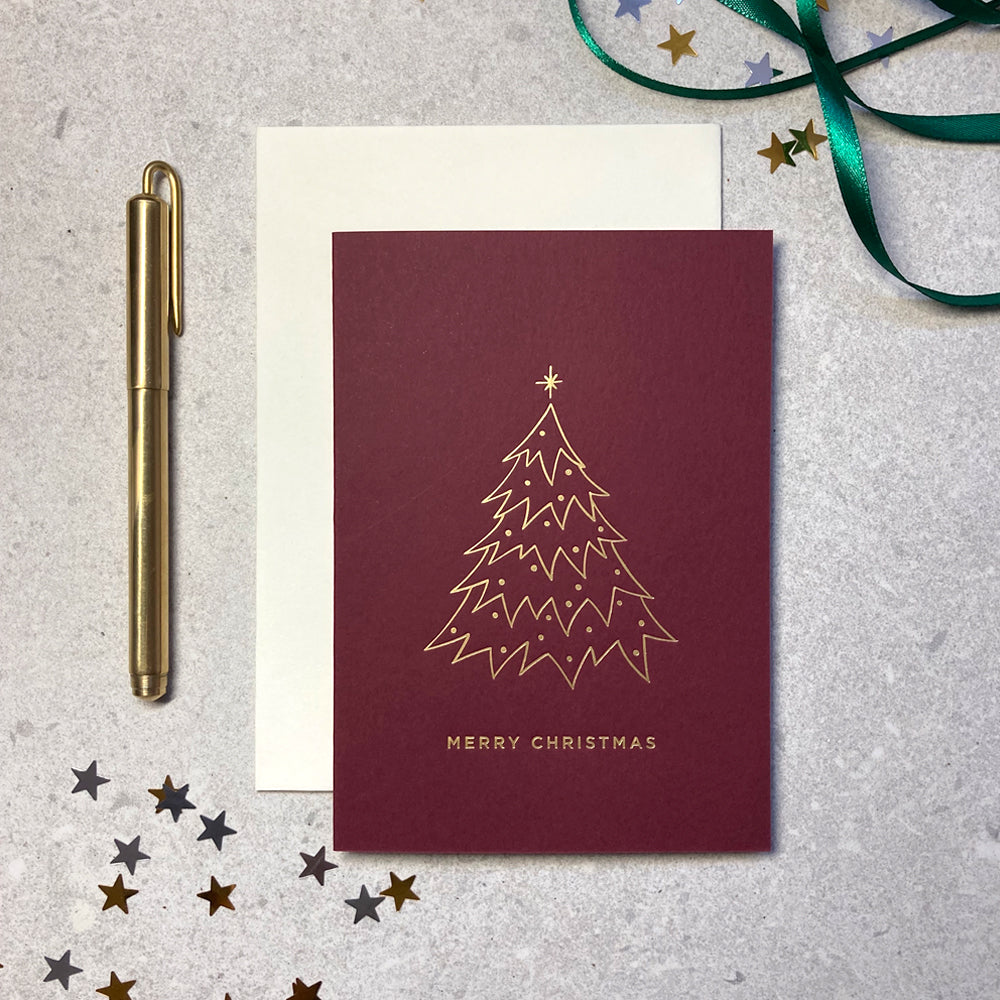 Christmas tree illustration letterpress foiled red card