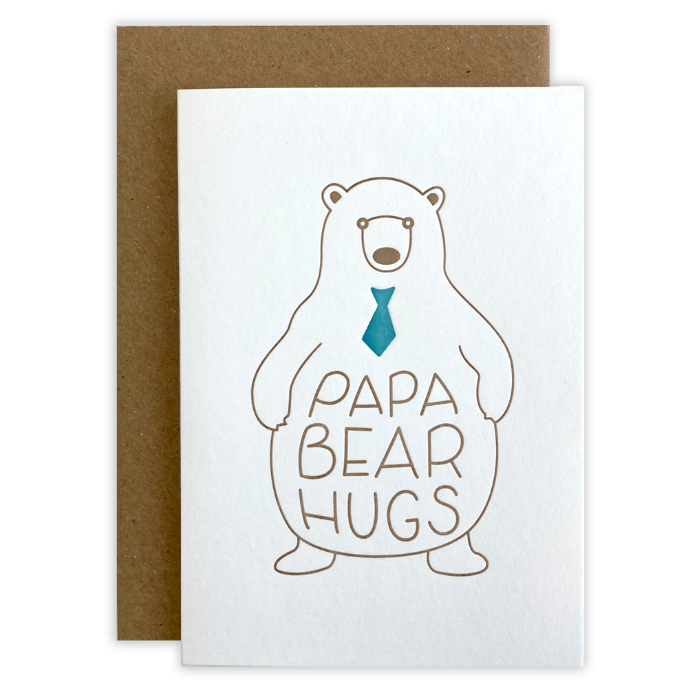 Papa Bear Hugs Letterpress Card
