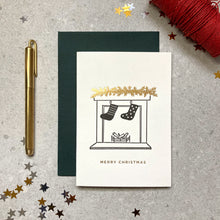 Load image into Gallery viewer, Fireplace with Christmas stockings letterpress ink and foil card