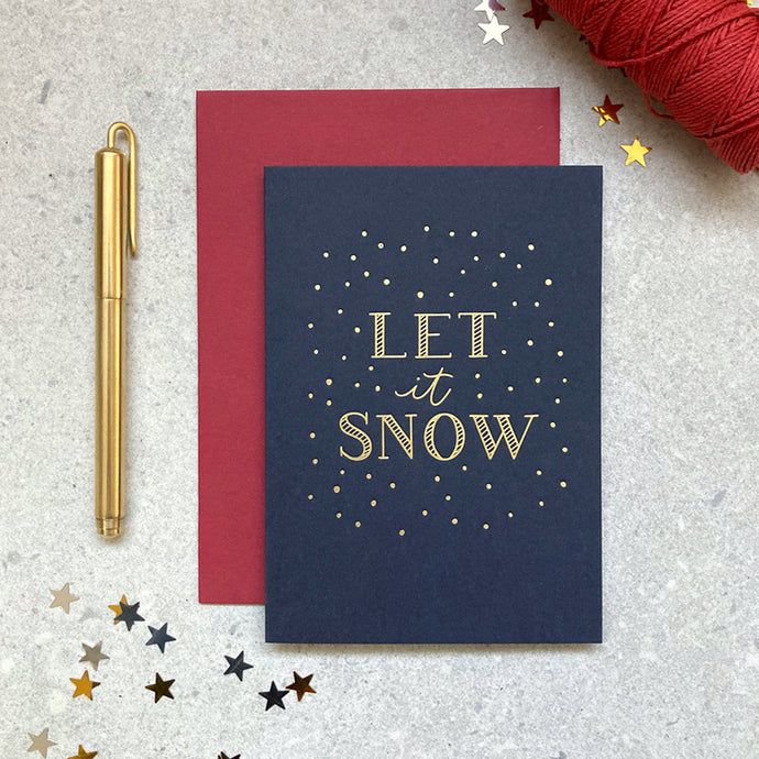 'let it snow' letterpress foiled navy card
