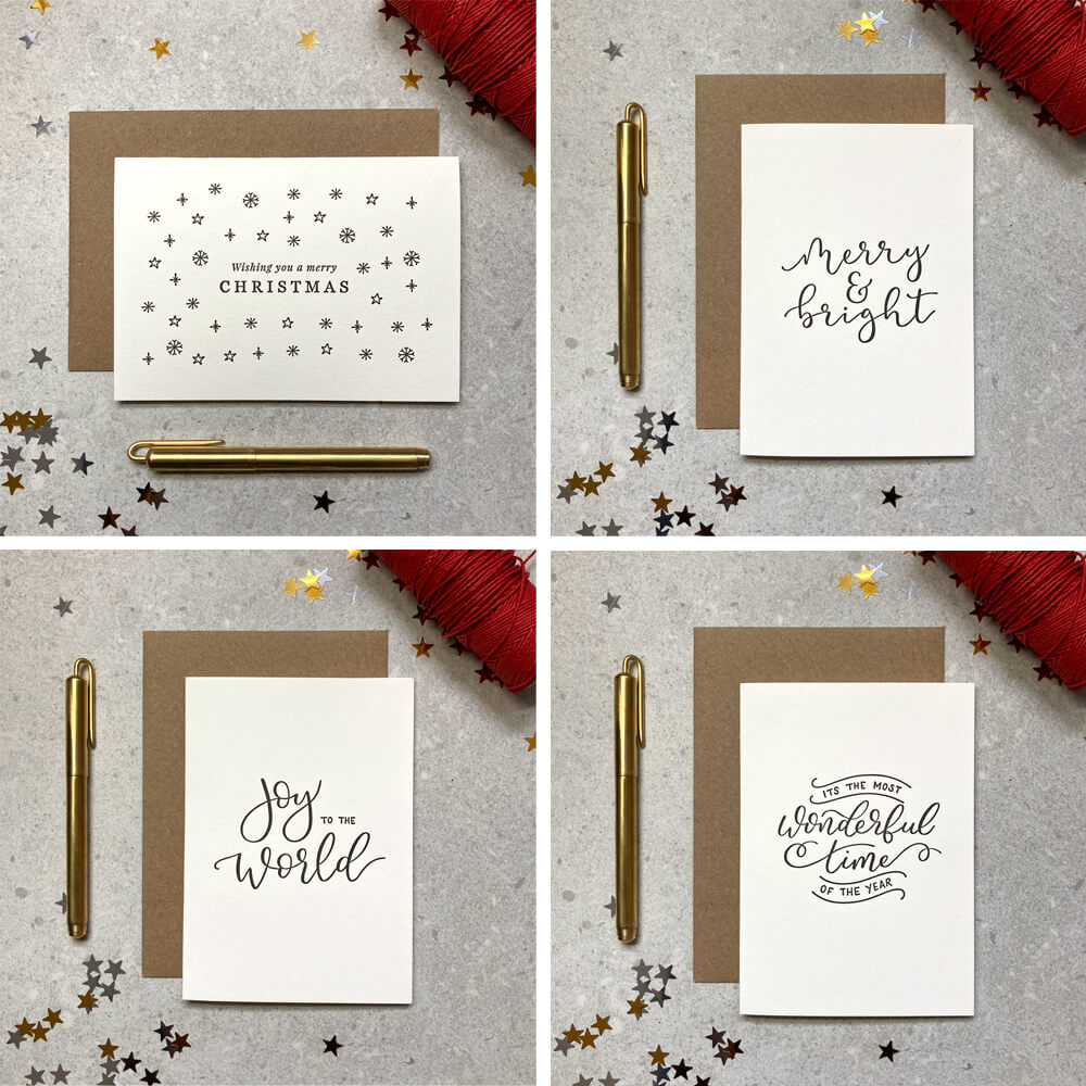 Mixed set of simple design letterpress cards