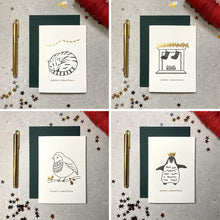 Load image into Gallery viewer, Mixed set of ink and foil letterpress cards on cotton card