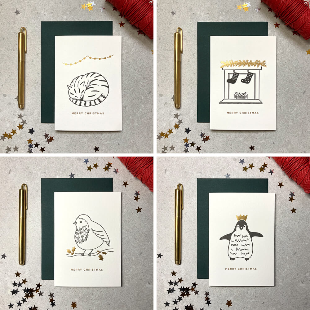 Mixed set of ink and foil letterpress cards on cotton card
